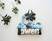 Dinosaurs - Made-to-order personalised felt name banner / plaque, nursery decoration, Perth