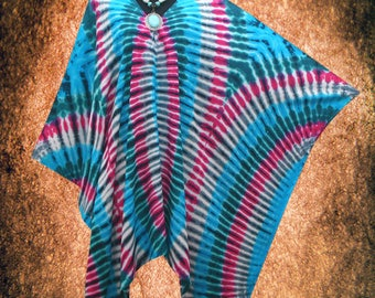 Tropical Geometric Hand dyed Wearable Art V neck Poncho Tunic Top blouse