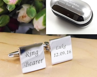 Mens Personalised Ring Bearer Wedding Day Custom Engraved Square Cufflinks - Personalised Engraved Gift Box Available