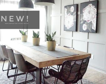 8 Ft Modern Farmhouse Dining Table With Black Base And Natural Top