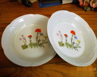2 WILD FLOWERS by L. LOURIOUX  Cream coupe soup bowls.  7 1/2 inch