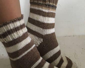 women socks socks yarn socks striped socks Knitted Socks, Winter Accessories, winter socks brown socks Night Socks , women gift women socks