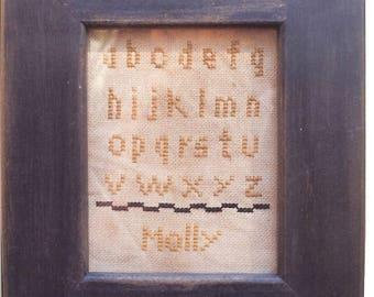 Primitive cross stitch, sampler chart/pattern,primitive needlework, schoolgirl sampler, early American , Molly
