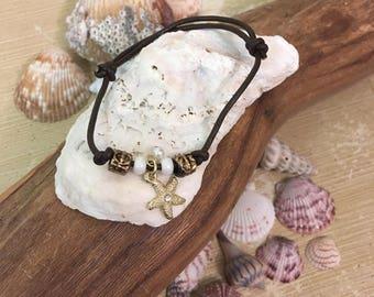 Starfish Charm Leatherq Bracelet