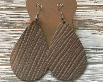 Taupe textured leather earrings | lightweight leather earrings | genuine leather