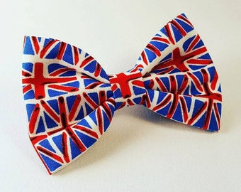 Union Jack Dog Bow Tie, Dog Bow Tie, British Flag Dog Bow Tie, British Flag Bow, Bow Tie, Red White Blue Bow Tie, Gift for the dog, dog bow