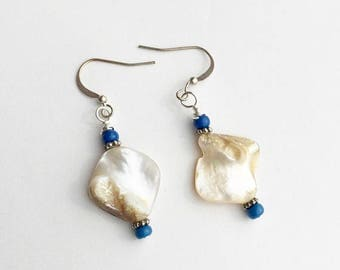 Sea Shell Earrings, Boho White and Blue Earrings, Beach Earrings with Free Form Sea Shell Beads