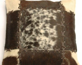 Natural Cowhide Luxurious Patchwork Hairon Cushion/pillow Cover (15''x 15'')a200
