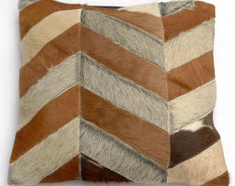 Natural Cowhide Luxurious Patchwork Hairon Cushion/pillow Cover (15''x 15'')a241