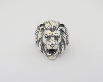 Vintage Sterling Silver Lion Head Mens Ring Size 10