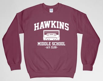 Hawkins Middle School AV Club Sweatshirt Sweater Stranger Things