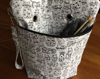 Project bag for knitting crochet and yarn - made to order