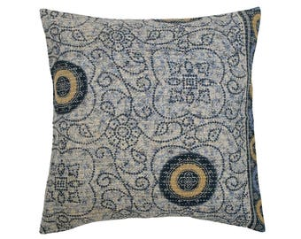 Kantha Cushion Cover - Pale Blue with Navy and Ochre