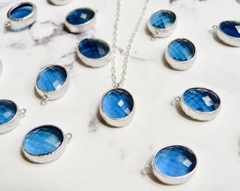 Sapphire necklace, blue crystal, September birthstone, sterling silver chain