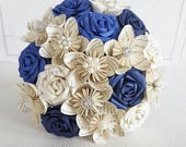 Paper Flower Wedding Origami Rose Bouquet Harry Potter Blue Rose book and Brooch Bouquet theme wedding alternative