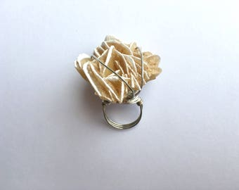 Desert Rose Selenite Crystal Statement Ring
