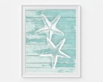 Starfish Print Art Wall Nautical Decor Coastal