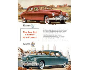 Vintage poster advertisement for a 1947 Kaiser - 27