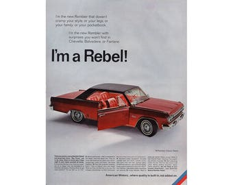 Vintage poster advertisement for a 1966 Rambler Classic Rebel - 45