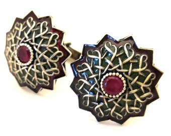 Mans Cufflinks Silver 925 Color Ruby Genuine Enamel Vintage Excellent Work