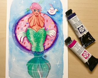 Mermaid At The Pool - Watercolor Illustration Print