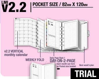 Trial[POCKET size v2.2 w DS1 do2p] February to April 2018 - Filofax Inserts Refills Printable Binder Planner Midori.