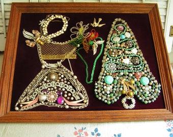 Vintage Rhinestone Costume Jewelry Christmas Tree and Angel Jewelry Art Framed on Velvet Vintage Christmas Retro Christmas Folk Art