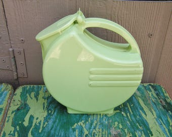Vintage Chartreuse Retro Plastic Art Deco Refrigerator Water Pitcher with Hinged Lid