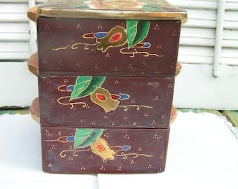 Vintage Satsuma Bento Style Porcelain Stacking Box 3 Tier Jewel or Storage Box Asian Style Trinket Box TWNC Made in Japan