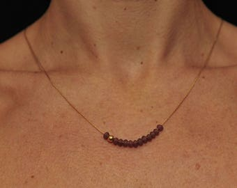 Gold plated 45 cms and minijoaillerie plum Crystal Necklace