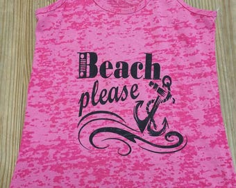 Beach Please Pink Burn Out Tank Top