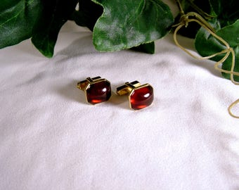 Vintage 50's SWANK Ruby Red Gold Hexagon Slant Back Cuff Links
