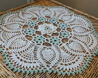 Rose and Pineapple Doily in Sage Green and Ecru