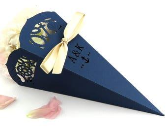 Nautical wedding confetti cone, Laser cut confetti cone, Sailing wedding, Navy wedding table decor, Nautical waterfront wedding decoration