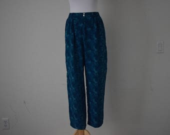 FREE usa SHIPPING Vintage silk women's pants/ slacks/ straight cut/ elastic waist /polyester/ retro/ 1990s size 8