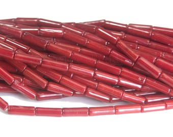 red coral tube beads -  cylinder bamboo coral beads - red beads for jewelry making - smooth tube beads - 8x3mm red tube beads -15 inch
