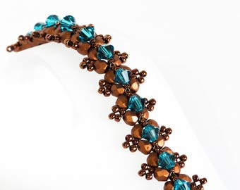 Crystal Bracelet - Beadwoven Bracelet with Indicolite (Light Teal) Crystals, Copper Fire Polished Beads & Seed Beads - Seed Bead Jewelry