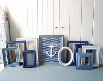 navy blue picture frame set baby boy nursery frames white frames gallery frames anchor coastal frame set nautical frame picture frames - Nautical Picture Frames