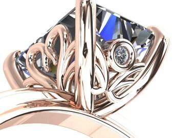 Murmur Emerald Moissanite Swan + Flower Engagement Ring
