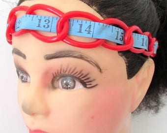 Red blue recycled tape measure hairband