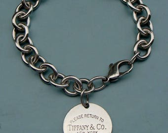 VINTAGE RETURN TO Tiffany & Co 925 Sterling Silver Round Tag Charm Bracelet 7.75