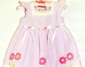 Vintage baby dress  purple and white gingham, Youngland Dress for 18 Mo WITH bloomers