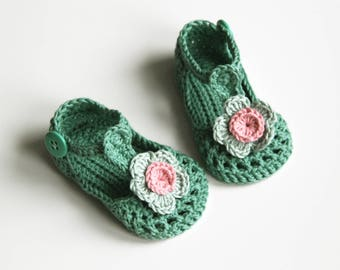 IDA Baby Girl Shoes, Crochet Cotton Baby Booties, Green Mint Pink Baby Shoes, T-strap Baby Shoes, Size 3-6 months, Ready to Ship