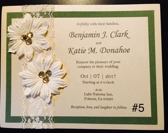 Wedding Invitations - Custom, Handmade with Flowers