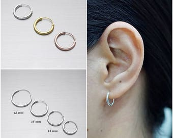 925 Sterling Silver  Earrings, Gold Plated Earrings, Rose Gold Plated Earrings, Hoop Earrings, Size 1.5 mm (Code : E54)