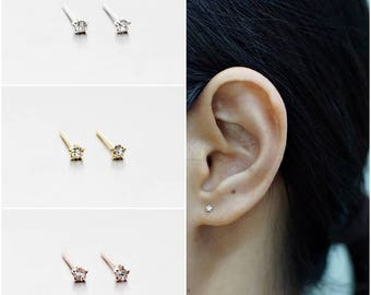 925 Sterling Silver Earrings, Tiny Star Earrings, Crystal Earrings,  Gold Plated, Rose Gold Plated, Stud Earrings Size 1.5 mm (Code : EF24A)