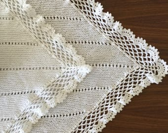 White Baby Blanket Delicate Crochet Edging