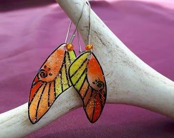 Monarch yellow and orange butterfly wings fairy wings earings.
