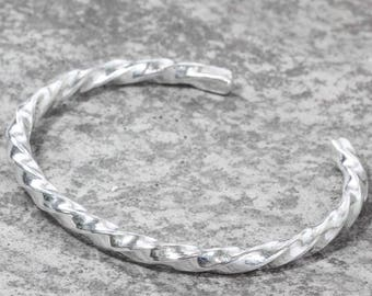Sterling Silver Chunky Twisted Torque Bangle