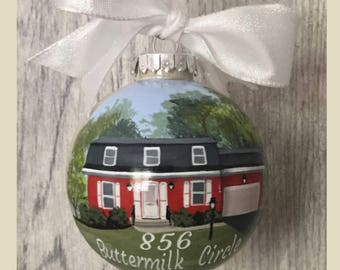 Hand Painted House Ornament// House Painting from Photo// Personalized House Painting Ornament// Real Estate Agent Gift//First Home Ornament